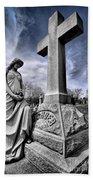 Dramatic Gravestone With Cross And Guardian Angel Bath Towel