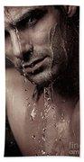 Dramatic Portrait Of Young Man Under A Shower Bath Towel
