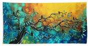 Dream Watchers Original Abstract Bird Painting Bath Towel