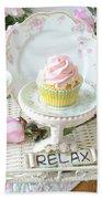 Dreamy Shabby Chic Pink Chocolate Cupcakes Vintage Romantic Food Floral Cupcake Kitchen Art Decor Bath Towel