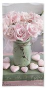 Shabby Chic Pink Roses - Romantic Valentine Roses Hearts Floral Prints Home Decor - Romantic Roses  Hand Towel