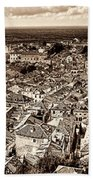 Dubrovnik Rooftops And Lokrum Island Against The Dalmatian Adriatic Sepia Bath Towel