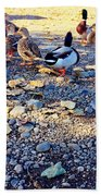 Duck Parade On The Beach Bath Towel