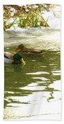 Duck Swimming In A Frozen Lake Bath Towel