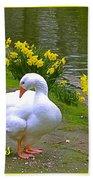 Ducks And Daffodils Greeting Bath Towel