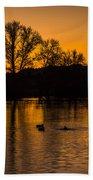 Ducks At Sunrise On Golden Lake Nature Fine Photography Print  Bath Towel