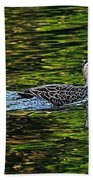 Ducks On Green Reflections - Panorama Hand Towel