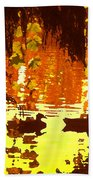 Ducks On Red Lake Bath Towel