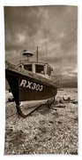 Dungeness Boat Under Stormy Skies Bath Towel