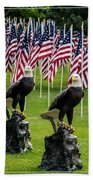 Eagles And Flags On Memorial Day Bath Towel