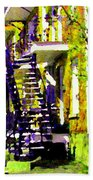 Early Spring Stroll City Streets With Spiral Staircases Art Of Montreal Street Scenes Carole Spandau Bath Towel