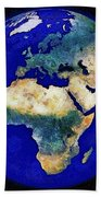 Earth From Space Europe And Africa Bath Towel