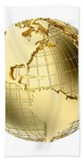 Earth In Gold Metal Isolated On White Bath Towel
