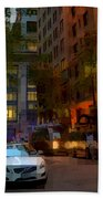 East 44th Street - Rhapsody In Blue And Orange - Close View Hand Towel