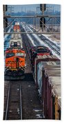 Eastbound And Westbound Trains Bath Towel