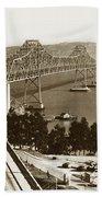 Eastern Span Of San Francisco-  Oakland Bay Bridge Circa 1937 Bath Towel