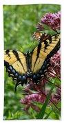 Eastern Tiger Swallowtail On Joe Pye Weed Bath Towel