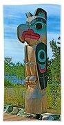 Edward Smarch Totem Pole At Teslin Tlingit Heritage Memorial Center In Teslin-yt Bath Towel