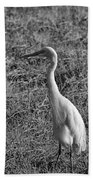 Egret In Black And White Bath Towel
