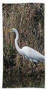 Egret In Marsh In Display  Bath Towel