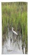 Egret In The Marsh Bath Towel