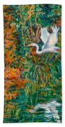 Egret Reflections Hand Towel