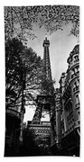 Eiffel Tower Black And White Hand Towel