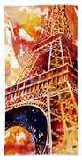 Eiffel Tower In Red Bath Towel