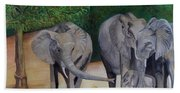 Elephant Family Gathering Bath Towel