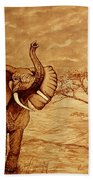 Elephant Majesty Original Coffee Painting Bath Towel