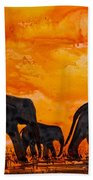 Elephants At Sunset Bath Towel