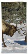 Elk  Bulls Fighting In Yellowstone Bath Towel