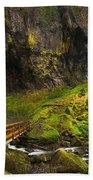Elowah Falls Panorama -  Columbia River Gorge In Oregon Bath Towel