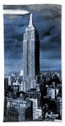 Empire State Building Blimp Docking Blue Bath Towel