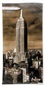 Empire State Building Blimp Docking Sepia Bath Towel