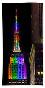 Empire State Building Lit For Gay Pride Bath Towel