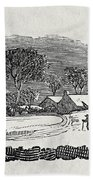 Endpiece, Late 18th Or Early 19th Century Wood Engraving 99;landscape; Winter; Figure; Snow; Snowy; Bath Towel