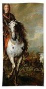 Equestrian Portrait Of Prince Eugene De Savoie 1663-1736 C.1700-10 Oil On Panel Bath Towel