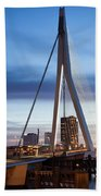 Erasmus Bridge And City Skyline Of Rotterdam At Dusk Bath Towel