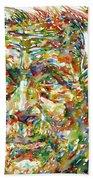 Ernst Junger Watercolor Portrait Bath Towel