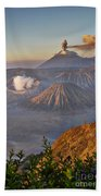 eruption at Gunung Bromo Bath Towel