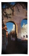 Esther Henderson Photo Back North Entrance  Of San Xavier Mission Tucson Arizona 1957-2013  Bath Towel