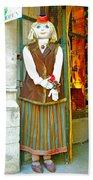 Estonian Greeter In Old Town Tallinn-estonia Bath Towel
