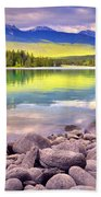 Evening At Lake Annette Bath Towel