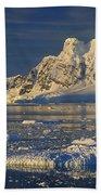 Evening Light On Peaks Paradise Bay Bath Towel