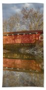 Everett Rd. Covered Bridge In Fall Hand Towel