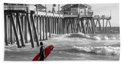 Existential Surfing At Huntington Beach Selective Color Bath Towel