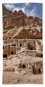 facade street in Nabataean ancient town Petra Bath Towel