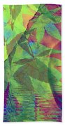 Face In The Rock With Maple Leaves Bath Towel