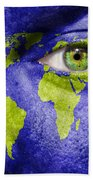 Face The World Map Bath Towel